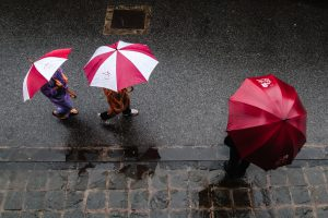 three people using umbrella walking in the street
